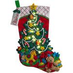 Bucilla 18-Inch Christmas Stocking Felt Applique Kit, 86710 Christmas Tree Surprise