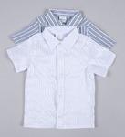 Сорочка праздничная стрейч полоска белая короткий рукав 146 рост