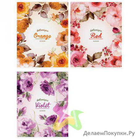 """Тетрадь 80л. А4 клетка """"Цветы. Watercolor blossom"""","""