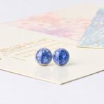 Серьги гвоздики, арт.КР220 - 3 пары, 2 голубые, 1 зеленая