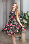 платье 1170, розы на черном, размер 42-52