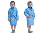 Халат махровый детский капюшон Голубой