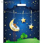 """Пакет """"Мишка на луне"""", полиэтиленовый с вырубной ручкой, 45х38 см, 60 мкм"""