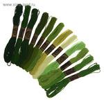 """Набор ниток мулине """"Спектр зеленый, 12шт, 8±1м, цвет зелёный/болотный/салатовый 3 ШТУКИ"""