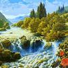 Картина-раскраска по номерам 40*50 GX 7362 Лесной водопад