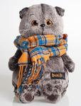 """Мягкая игрушка кот """"Басик"""" и шарфик в клеточку (25 см) Ks25-002. На складе с 15.12.2016 года"""