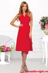 Платье запах волан красное короткое с карманами СКИДКА