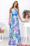 Платье анаша синяя с поясом кожа СКИДКА