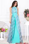Платье двухслойное принцесса бирюза цветочек