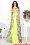 Платье двухслойное принцесса шифон желтый набивной СКИДКА