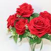 """Розы """"бархатные"""" букет 35см,7 бутонов 7-9см, упак 1шт. P68 A30/330"""