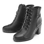 Женские удобные черные ботинки на устойчивом каблуке