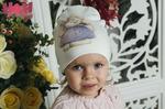 Взрослая двухслойная демисезонная шапка с иллюстрацией Зайка
