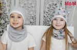 Снуд к однослойной шапке с принтом (цвет в ассортименте)