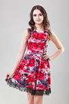 Платье красное с черными цветами и кружевом