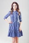 Платье цвет индиго в мелкий горошек