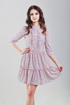Платье цвет пудра в мелкий горошек