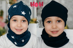 Двухсторонняя шапка - звезды/синий