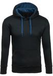 Толстовка мужская с капюшоном черно-синяя Denley 2075-1