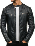 Куртка мужская кожаная черная Denley 918
