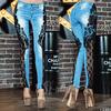 Ультрамодные женские джинсовые брюки