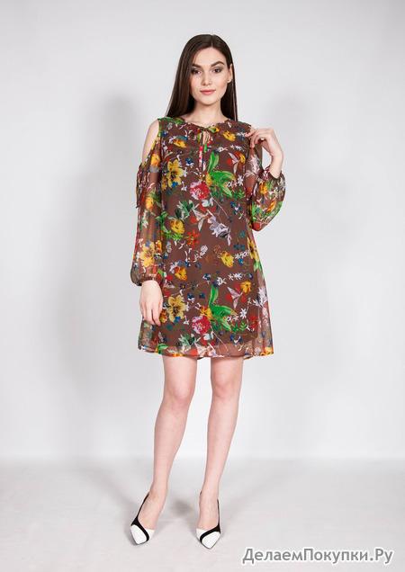 3658 Платье /коричневый