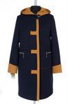 Пальто женское утепленное Кашемир Сине-горчичный