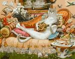 "РН GХ4453 ""Белый кот играет на гитаре"" , 40х50 см Артикул827-343"