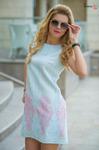 Платье голубое 7666Платье-трапеция выполнено из красивейшего турецкого жакарда с золотистым напылением. Длина 86-87 см. Цвет: Голубой Ткань: Турецкий жакард с золотым напылением