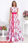 Платье белое букеты красные ЛОДОЧКА