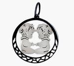 Знак зодиака Близнецы  Подвес из серебра 925 пробы с нанокерамическим покрытием