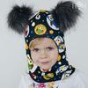 Взрослая зимняя шапка-шлем с 2мя искусственными помпонами, совы (Акция не распространяется)