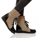 Женские комбинированные ботинки на шнуровке (байка/экомех - на выбор)