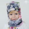 Зимняя шапка-шлем без помпона, цветы на сером АКЦИЯ