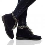 Женские замшевые ботинки на шнуровке (байка/экомех - на выбор)