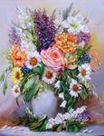 """РН GX22367 """"Букет садовых цветов в белой вазе"""", 40х50 см"""