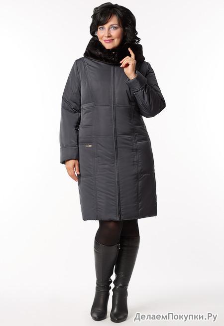 """Пальто """"Шерил"""" р-р 46-62 цвета графитовый,бежевый,темно-серый"""