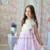 """Платье нарядное для девочки """"Лютики"""", цвет ваниль/розовый"""