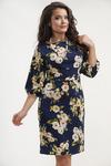 Платье 802. Синий, белые цветы. Трикотаж милано