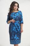 Платье 6810. Голубые завитки на синем. Плательная ткань. Купон