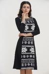 Платье 5055. Черный, снежный узор. Трикотаж милано