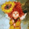 """Набор для раскрашивания по номерам """"Солнечный ангел с подсолнухом"""""""