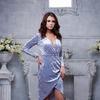 Платье бархатное цвет серебро, песочный