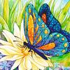 """Картина стразами """"Бабочка и цветок"""" (АЖ-1129)"""