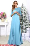 Платье голубое кружево асимметрия длинное
