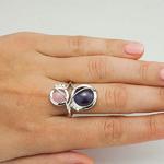 Серебряное кольцо с цветными фианитами - 608