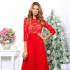 Платье гипюр красное