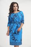 Платье 6810. Синие завитки на голубом. Плательная ткань. Купон