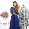 Платье гипюр синее