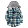 Carter's Boys' 2T-8 Long Sleeve Plaid Zip Up Hoodie